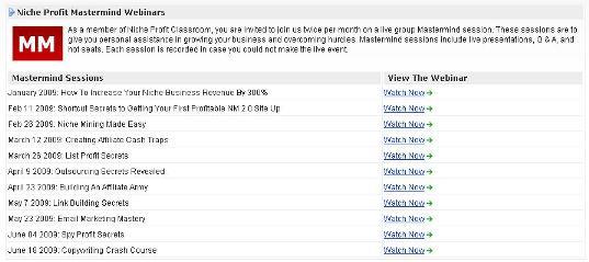Niche Profit Classroom Mastermind Webinars